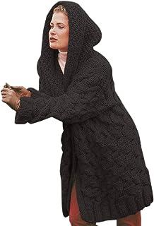 Cardigan Donna Cappotto Cardigan Solido Giacca Lunga con Cappuccio Maglione Donna Autunno Inverno Cappotto Femminile Magli...