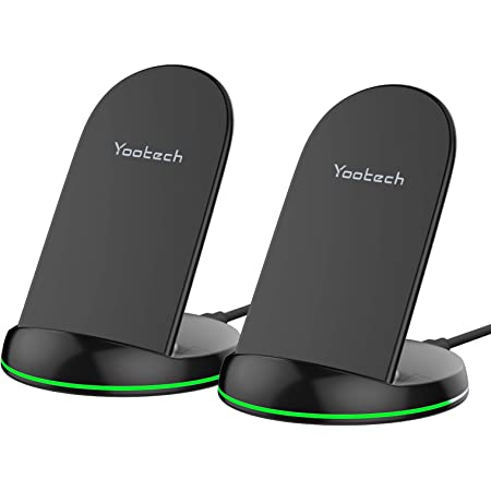 Yootech [2 Pack] Wireless Charger Qi-Certified 10W Max Wireless Charging Stand, Compatible with iPhone SE 2020/11 Pro Max, Galaxy S21/S20/Note 10/S10 Plus/S10E(No AC Adapter)