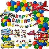 Decoración Cumpleaños Niño, Fiestas de Cumpleaños Globos Favoritas de Chicos Banners de Feliz Cumpleaños de Traffico para Cumpleaños Baby Shower