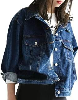 Women's Trucker Jacket Retro Vintage Dark Blue Denim Jacket Long Sleeve Button Down Jean Jacket Classic Original Trucker