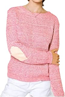 Women's Cute Heart Pattern Casual Long Sleeve Round Neck Knits Sweater Pullover