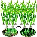 Plantas De Plástico Verde De Acuario 10 Piezas De Adorno De Plantas De Plástico Plantas De Decoración De Acuario Artificial Plantas De Acuario Planta De Acuario De Plástico para Decoración De Pecera