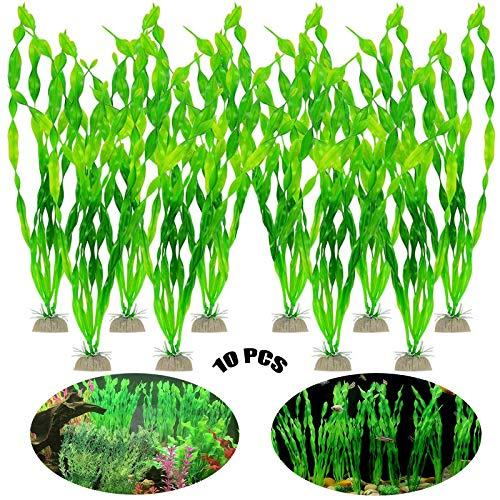 Aquarium Vert Plantes en Plastique 10 Pcs Plantes en Plastique Ornement Aquarium Artificiels Plantes Décoration Plantes Aquarium Plantes en Plastique pour Réservoir De Poissons d'Ornement Décoration