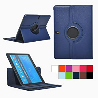 PT Premium Folio Rotating Leather Smart Case Cover Multi-Angle Stand Case For Samsung Galaxy Tab Pro 10.1 Tablet SM-T520/T525 (Navy blue)