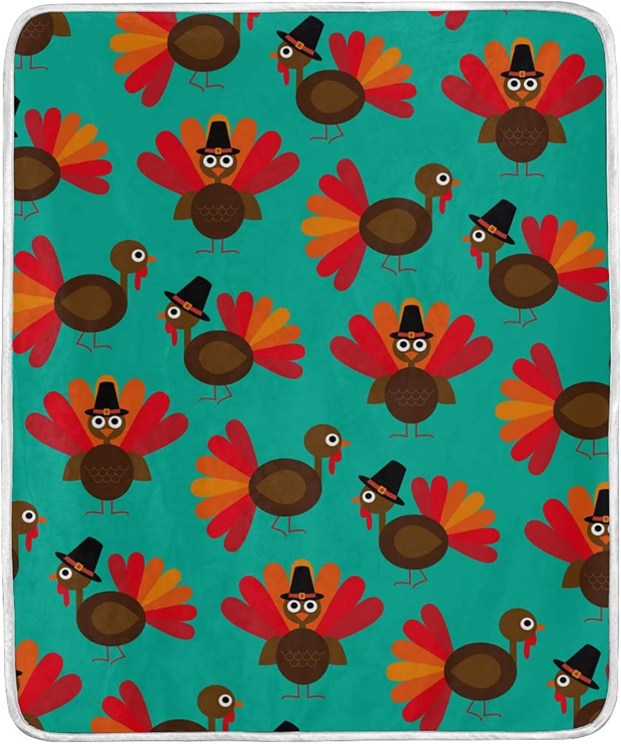 ColourLife Soft Microfiber Blanket Cute Thanksgiving Turkey Pattern Throw Cozy Warm Flannel Fleece Blanket for Kids Women Bed Sofa Couch Beach 50x60 inches