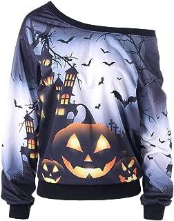 Women Halloween Costume Ghost Pumpkin Sweatshirt Long Sleeve Off Shoulder Top