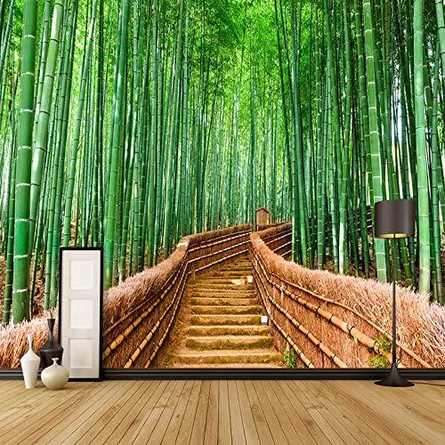4D behang muurschilderingen, modern creatief mooie groene bamboe bos ladder natuurlijke landschap muur art foto afdrukken wallpaper grote poster aan de muur decoratie voor huis woonkamer bank Tv Hin 100in×144in 250cm(H)×360cm(W)