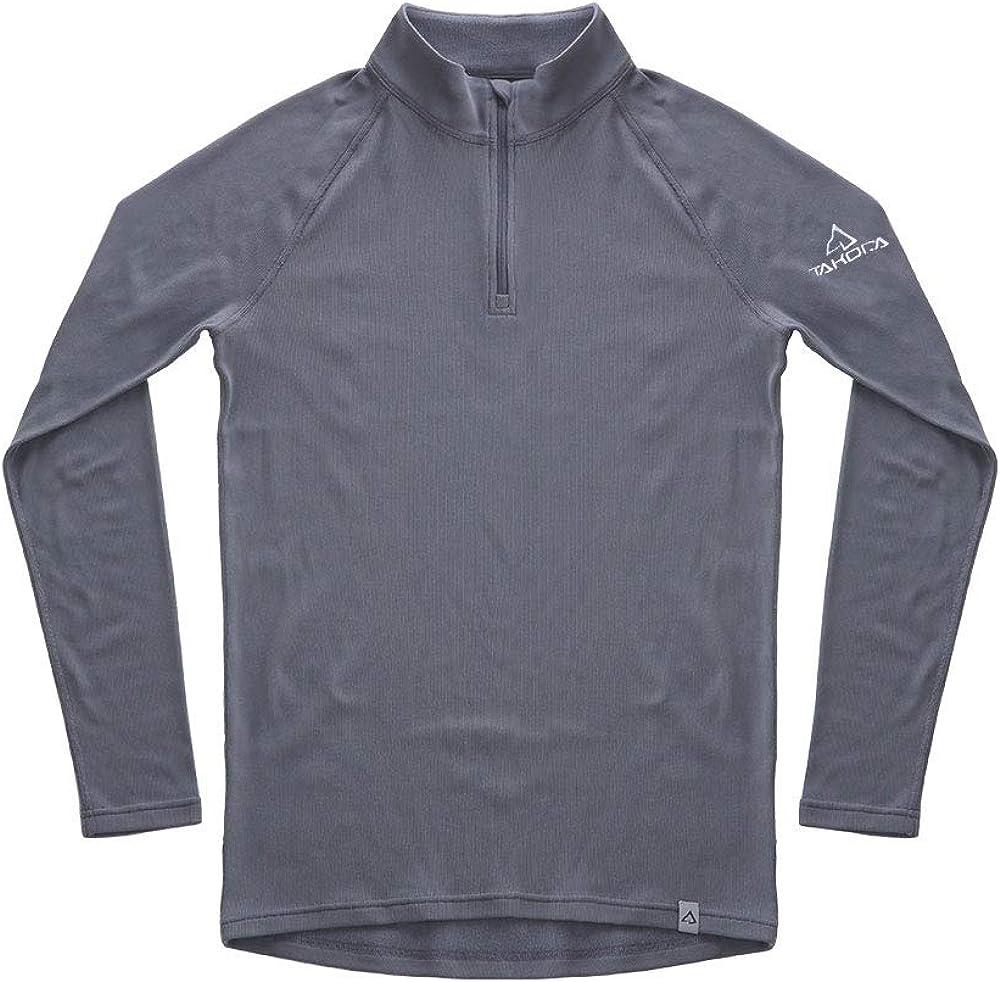 TAKODA Men's Thermal Underwear Shirt Base Layer Fleece Lined 1/4 Zip Top