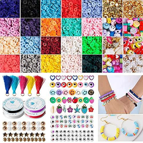 Juego de perlas 4600 unidades, pulsera de perlas para manualidades, cadenas, pulseras, collares, kit de joyas para manualidades, pulseras, collares, regalo para adultos y niños