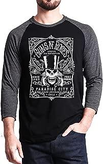Guns N Roses GNR Paradise City Baseball Tee Raglan 3/4 Sleeve Men's T Shirt