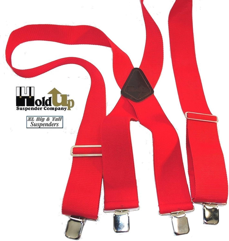 HoldUps XL Red Industrial 2 Nonelastic Suspenders w  Noslip Silver Clips