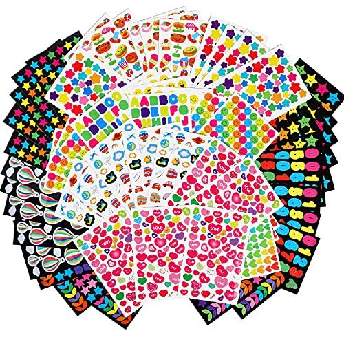 MOKIU 65 Feuilles Gommettes Autocollant (Plus de 4000 Gommettes) Autocollant en Coeur Étoiles Pois Colorés Stickers pour Scrapbooking, Loisirs Creatifs, Materiel Activites Manuelles, Album DIY…