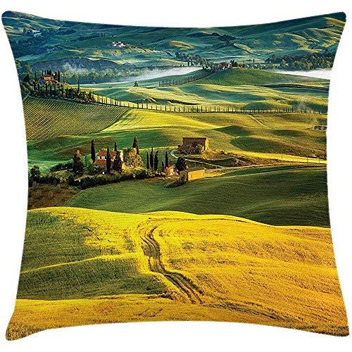 Babydo kussensloop Toscaanse kussensloop, Idyllisch landschap van Toscane weg en cipressen naar middeleeuwse boerderij afbeelding, decoratieve vierkante Accent kussensloop, 45X45cm, mosterd en groen