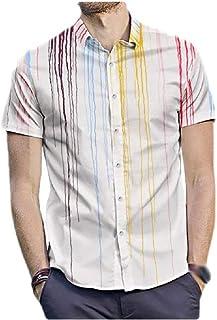 neveraway Mens Button Short-Sleeve Stripes Summer Basic Cotton Casual Shirt