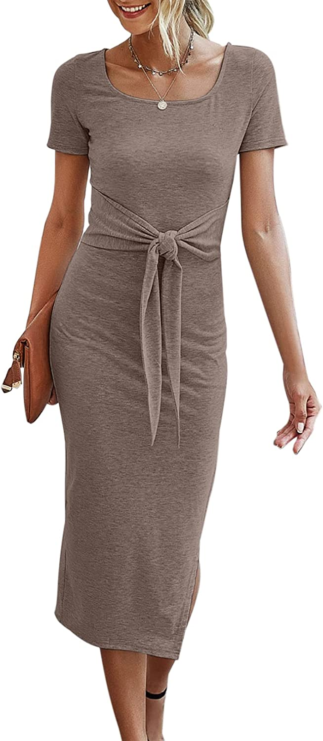 YACUN Women Short Sleeve Bodycon Midi Dress Square Neck Solid Summer Dresses with Slit with Belt