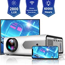 HOLLYWTOP HD Mini Portable Projector 2800 Lux WiFi Wireless Synchronize Smart Phone Screen,1080P Supported 180