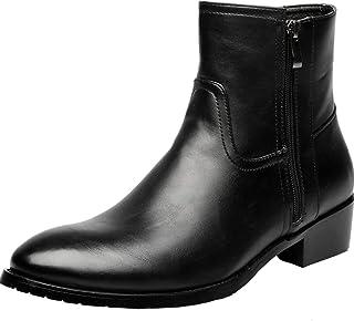 [フォクスセンス] 本革 ブロック 英徳風 レジャ- ビジネスシューズ 紳士靴 メンズ レディース 通勤 防水 フォーマル レインブーツ マーチン サイドジップ ワークブーツ