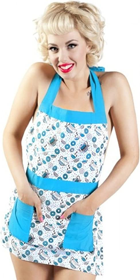 Teal & White Tea and Donuts Apron from Sourpuss Clothing,One Size