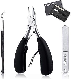 KIMINO 爪切り ニッパー式 ステンレス製 滑り止め 厚い爪/変形爪/巻き爪に最適 爪やすり ゾンデ付き セット