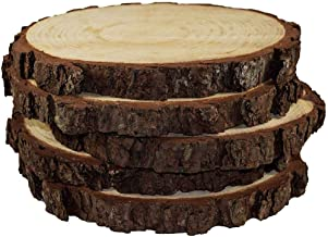 5pcs Wood Slices 6-7 inch Unfinished Natural with Tree Bark Diameter Large Circle Rustic Wedding Centerpiece Disc Coasters Christmas Ornaments Wedding Centerpiece, Arts and Crafts, Table Chargers, Coa