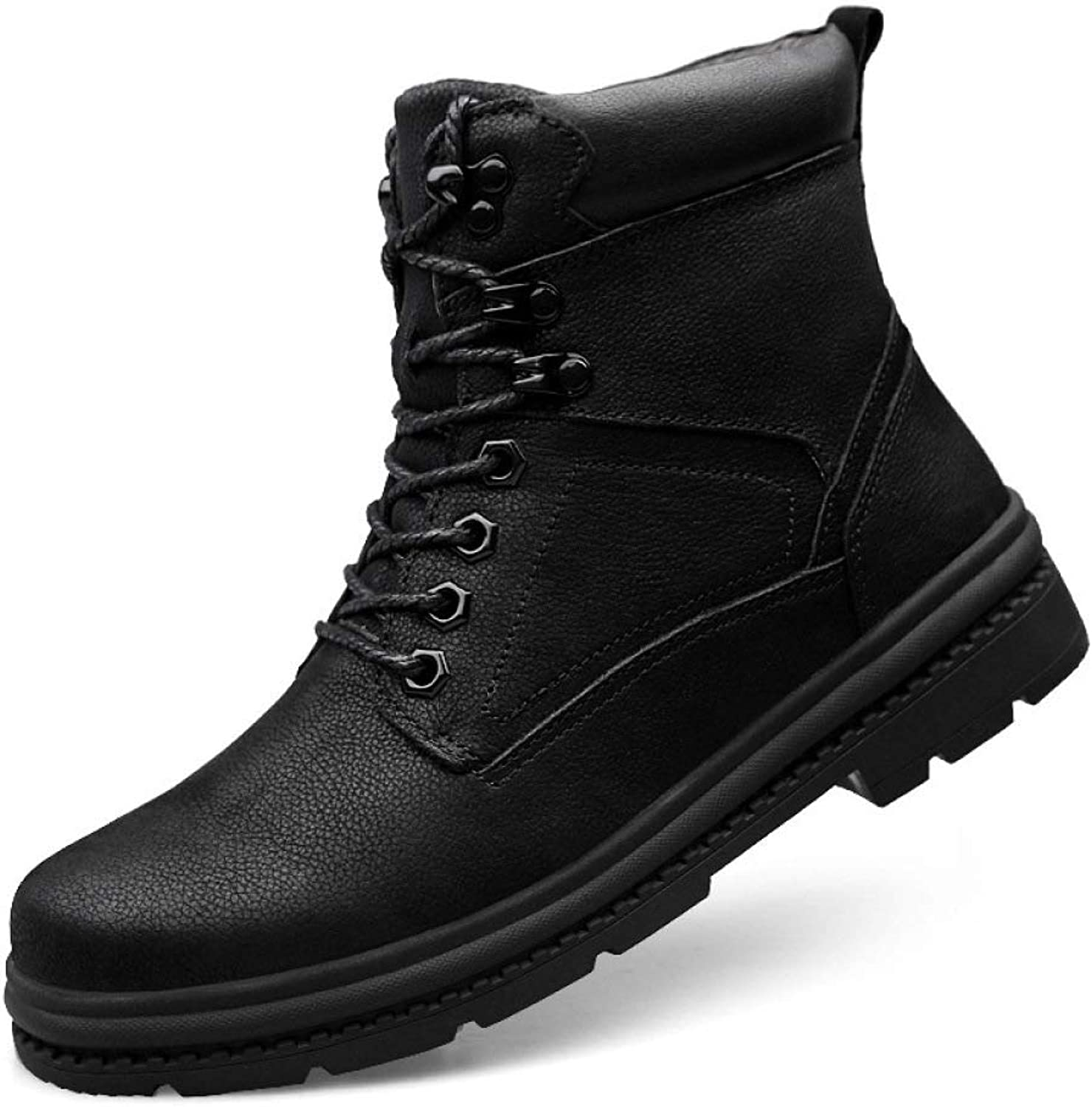shoes Men's Martin Ankle Boots Footwear Autumn and Winter Plus Velvet Warm Hiking Leather Outdoor Non-Slip High-top shoes,Black-43