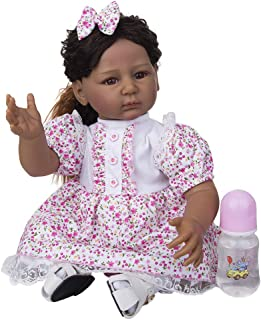 22Inch 55cm Reborn Princess Dolls Girl African American Reborn Toddler Baby Dolls Indian African For Kid Toy Birthday Xmas...