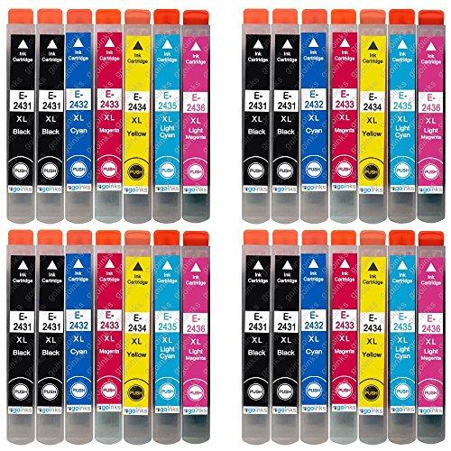 4 Go - Set di 6 cartucce di inchiostro nero extra per sostituire Epson T2438 + T2431 (serie 24XL) compatibili/non OEM per stampanti Epson Workforce (28 inchiostri), alta capacità (XL)