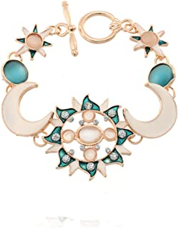 Dwcly Minimalist Gold Plated Shiny Rhinestone Sun Chain Friendship Bracelets Anklet Star Charm Bracelets Jewelry for Women