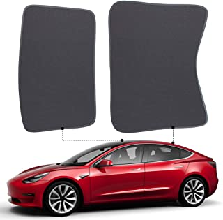 Dasbecan Auto Car Sunshade Sunroof for Tesla Model 3 Windshield Shade Front Rear Sunshade for Tesla Accessories Glass Roof Sunshade