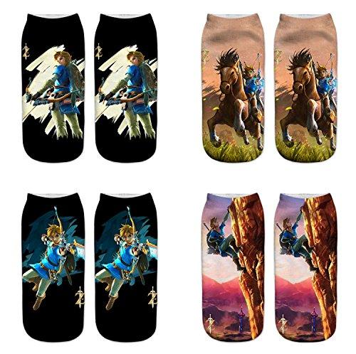 LegendsChan Damen Mädchen Cartoon Socken Weich Elastisch Sport Socken Strümpfe Füßlinge Bunt Motiv (Sock zelda 4 pack)