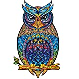 Rudxa Rompecabezas de Madera Animales, Piezas de Puzzle de Formas únicas, diseño de Animales de Dibujos Animados para Adultos Juguetes para niños decoración del hogar (búho, A3)