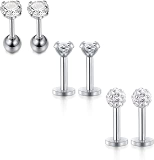 Piercing Brillantino Filetto Interno Acciaio Trago Labbro 18G