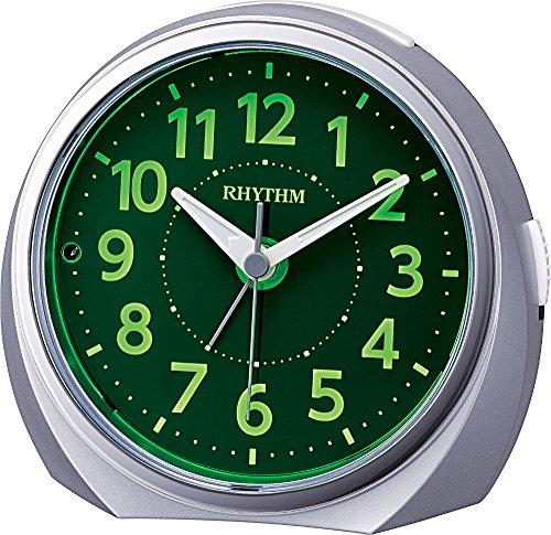 リズム(RHYTHM) 目覚まし時計 アナログ ルークR666 夜見える 暗所 ライト 自動 点灯 連続秒針 集光 文字板 電子音 アラーム 銀色 RHYTHM 8RE666SR19