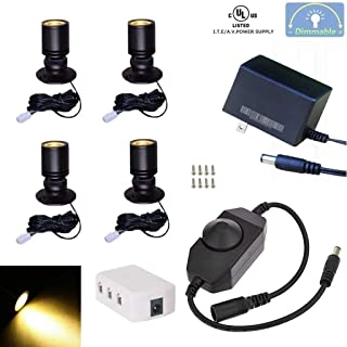 Xking Dimmable LED1.5W 12VDC Mini Spotlight Jewelry Showcase Display Lighting Fixture Black Shell Surface Mount with Online PWM Dimmer(Pack-4,Warm White 3000k)