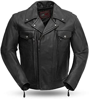 Mens Tall Mastermind Motorcycle Style Leather Jacket (Black, XX-Large Tall)
