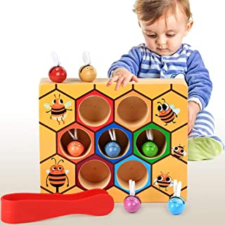 Sanwooden Toy Gift Hive Game Toy Wooden Hive Games Board 7Pcs Bees Clamp Picking Catching Educational Kids Toy Toys for Al...