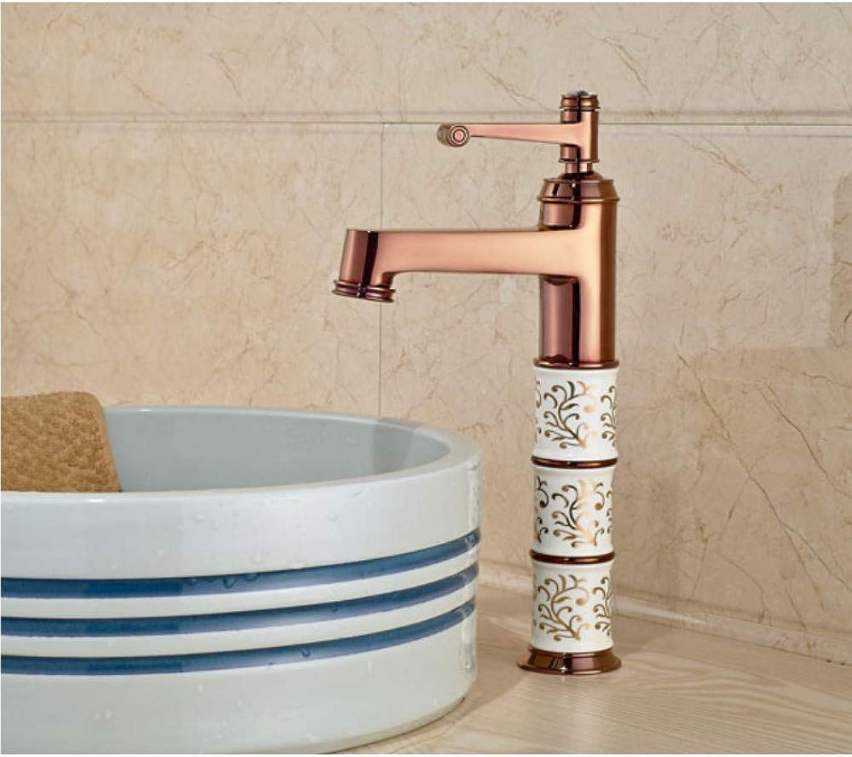 Knncch Luxury pink gold Brass Bathroom Sink Mixer Tap Single Handle Basin Mixer Tap
