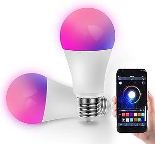 Bombilla LED Inteligente, Yageshark 2 Pcs Bombilla Inteligente E27, Bombilla Bluetooth, 10W, Luces RGB, Blanco Frío 2700k-6500k, Multicolores, Lámpara Regulable