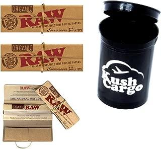 BUNDLE 4 ITEMS: 3 Packs RAW Connoisseur 1 1/4 Rolling Papers + KC Pop Top Jar