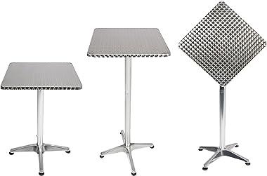 Mojawo Table de bistro Table de terrasse pliante en aluminium Hauteur réglable 60 x 60 cm Hauteur 70/110 cm