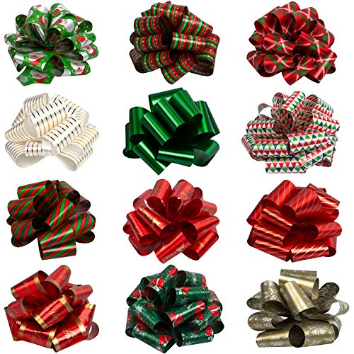 12 Pieces Christmas Bows for Presents, Bows for Gifts Pull Bows, Easy and Fast Gift Wrapping Bows (5' Wide)