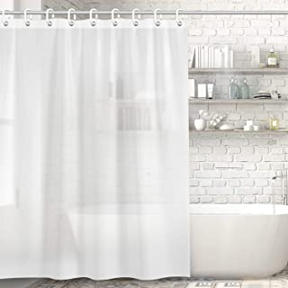 Kitdine シャワーカーテン 半透明 防水 防カビ バスカーテン お風呂用カーテン ユニットバス 浴室 間仕切り リング付き 取付簡単 風呂カーテン 軽量 速乾 (90*180cm)