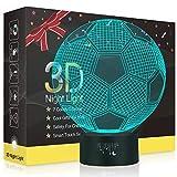 Football 3D Illusion Lampes, LED Veilleuse 7 Couleurs Tactile Interrupteur USB Lampe, Lumière pour Décoration de maison Enfants D'anniversaire De Noël Cadeau