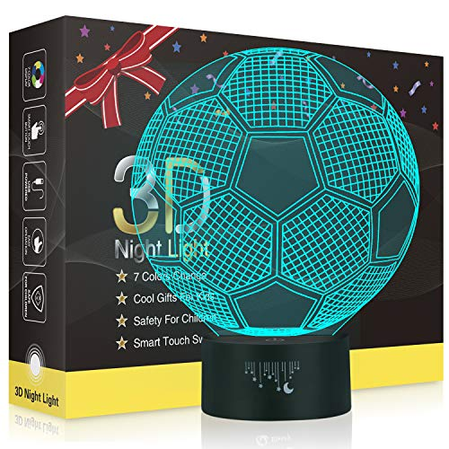 Football 3D Optical Illusion Night Light for Boys,Besrina 7 Color Changing Touch Table Desk Lamp for Kids Bedroom, USB Charger Pretty Cool Gifts for Birthday X-mas Holiday Valentine's Day