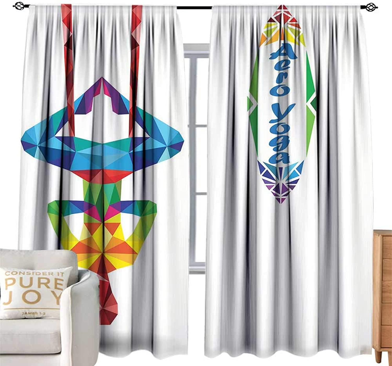CobeDecor Extra Wide Curtain Yoga Aerial Aero Anti Gravity Yoga Theme colorful Triangles Fractal Style Human Body Image Multicolor Privacy Predection W108 xL84