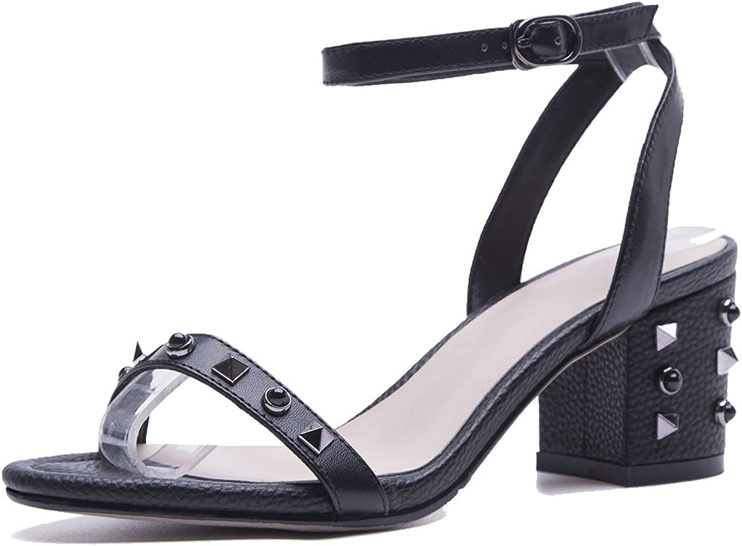 LZWSMGS Women's Ladies Leather Open Toe T Belt Sandals Summer Rivets with High Heels Court shoes High Heels Office Work shoes Ladies Sandals (color   Black, Size   35)