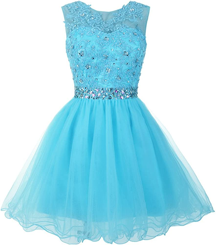 Mamilove Women's Tulle Short Applique Beading Formal Homecoming Cocktail Party Dress