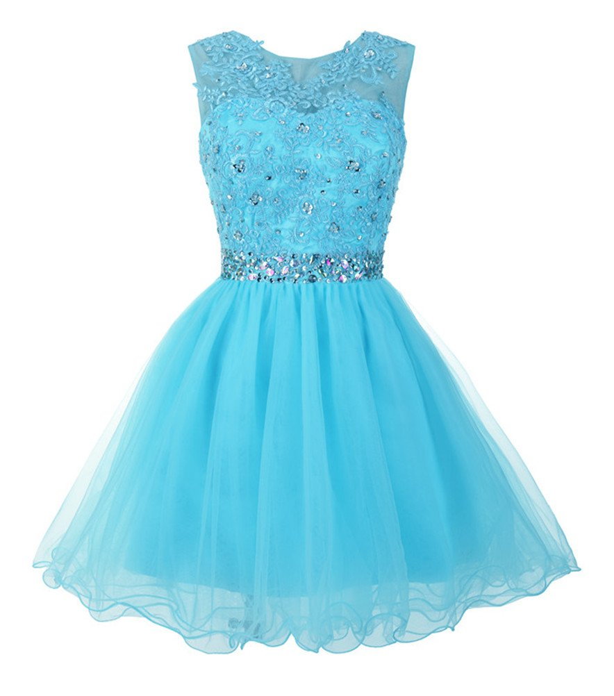 Available at Amazon: Mamilove Women's Tulle Short Applique Beading Formal Homecoming Cocktail Party Dress