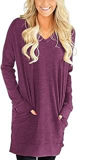 Womens Casual V-Neck Long Sleeves Pocket Solid Color Sweatshirt Tunics Blouse Tops