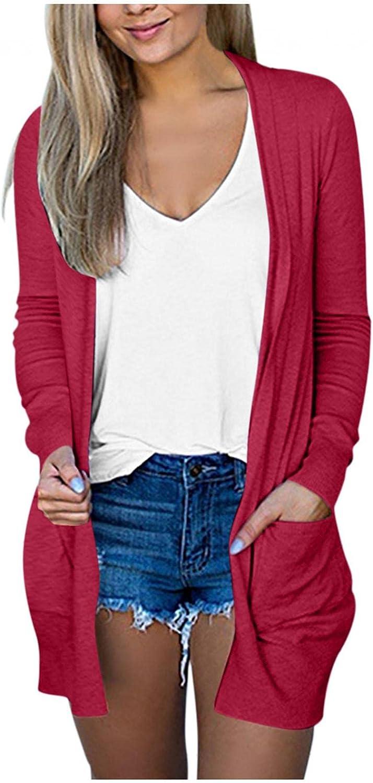 FABIURT Cardigan Sweaters for Women, Womens Cardigan Casual Fall Winter Long Sleeve Open Front Coat Outwear with Pockets